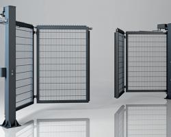Brama składana dwuskrzydłowa V-KING – wypełnienie panel kratowy VEGA 2d super